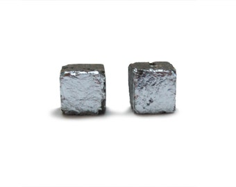 Silver and Concrete Cube Earrings - Silver and Gray Cement Jewelry