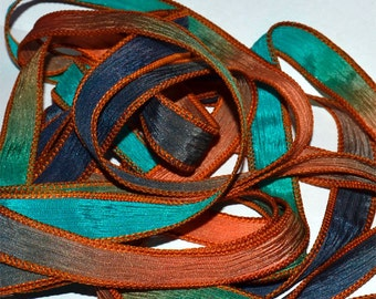 Odyssey   42 inch hand dyed silk ribbon// Silk Wrist wap Bracelet Ribbons//Silk Ribbon//Silk Yoga Wrap Bracelet Ribbon//By Color Kissed Silk