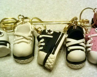 Stitch Markers Converse High Top Sneaker for Knit or crochet Pink Black and White