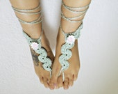 Mint BAREFOOT sandals floral barefoot sandals barefoot FLORAL hippie SUMMER sexy anklet jewelry foot thongs bottomless shoes