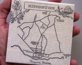 1967 Kingston Jamaica Map Coaster - Ceramic - Repurposed 1967 Encyclopedia of World Travel Page