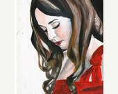 STUDIO SALE 30% Original Acrylic Painting on Canvas 'Alecia' 5x7 Portrait