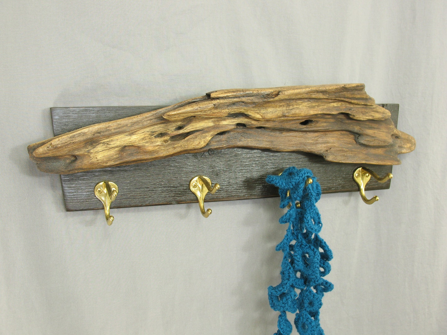 Contemporary rustic coat rack with driftwood and hooks for for Contemporary coat hooks