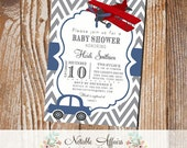 Gray and Navy Blue Chevron Airplane and Vintage Car Baby Shower or Birthday Invitation  - mode of transportation shower party