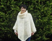 Ladies Poncho Or Shawl Made in A Cream Chunky Wool With Removeable Cowl Neck also in light grey this is reversed for Betty