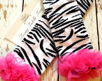 Hot Pink Ruffle Zebra Print Leg warmers.. Legwarmers -  chiffon legwarmers.. Baby Toddler Kids