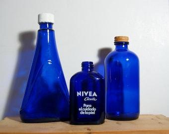 3 Vintage Embossed Cobalt Blue Bottles - Noxema Nivea Medicine Cosmetic Bottles