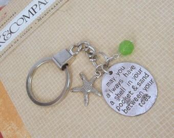 Beautiful Beach Keychain with Silver Word Charm, a Blue Czech Bead and a Starfish Charm