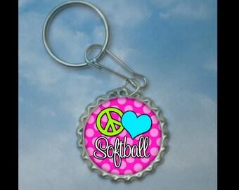 1 Peace, Love Softball Bottlecap Keychain,GLITTER or Plain, softball gifts, softball team, softball team gifts, softball keychains