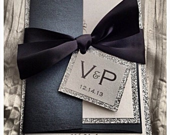 wedding invitations black tie wedding invitation black and silver invitation wedding invitations - Black Tie Wedding Invitations