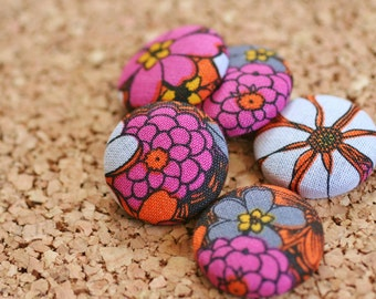 Button Tacks, Purple and Orange Flowers, Set of 5