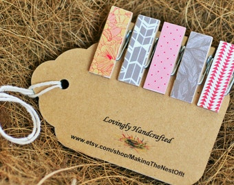 Clothespins, Feathers, Mini Wood Clips, Chunky Magnet Clothespegs