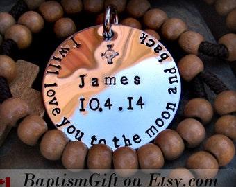 To the Moon and Back. Custom. Personalized. Baptism. Baptism Gift. Godparents. Baptism Boy. Girl. Godmother. Godfather. Catholic Jewelry