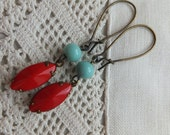 French Lipstick Red Navette Rhinestone, Vintage French Turquoise Blue' Bead, Antique Brass, Romantic, Parisian,