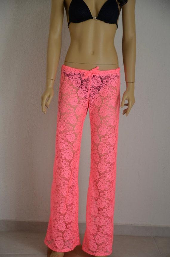 Crochet Pattern Yoga Pants : Neon pink crochet lace boho beach pant yoga pant by bstyle ...
