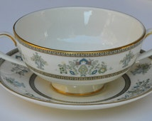 Minton China Cream Soup Handled Bowls With Saucers Henley Pattern