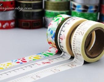 3 Rolls Washi Tapes - Japanese Washi Tape - Masking Tape - Deco Tape - Washi Paper - Filofax - numbers
