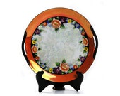 Noritake Plate, Lustreware, Art Deco, Cake, Serving Platter, Floral Design, Orange, Maroon, Yellow, Flowers, Handles, Black Morimura M