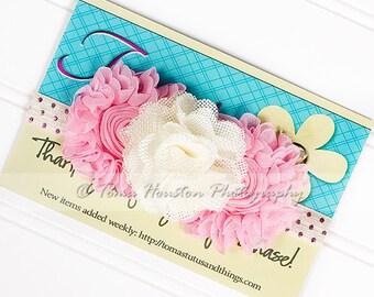 Flower Headband, Burlap, Chiffon, Cream, Pink, Metallic Polka Dot Elastic -SHIPS FREE!