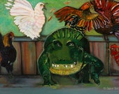 Gator in the Hen House, Original Painting, 24 x 36 inches