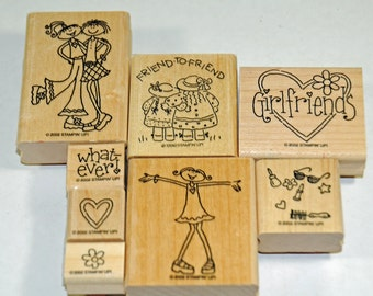 """Stampin Up Stamp Set """"Girlfriends"""" Rubber Stamps"""