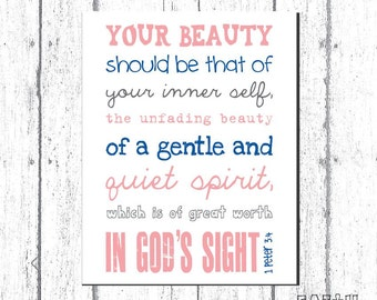 Scripture Art, Bible Verse Art, Faith Based Art, 1 Peter 3:4, Faith Art Print by Jennifer McCully