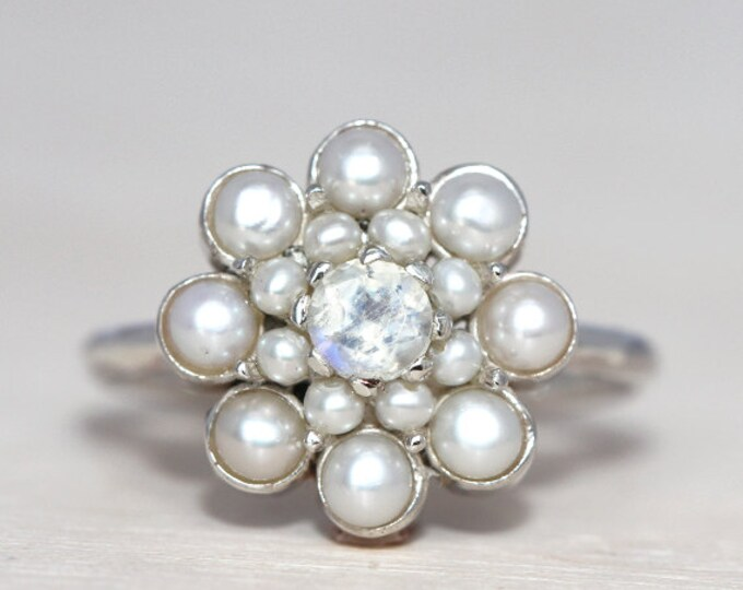 Akoya pearl - all sizes - cluster ring - anniversary ring - silver and pearls
