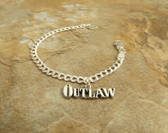 Sterling Silver Traditional Charm Bracelet with a Sterling Silver Outlaw Charm - 2163