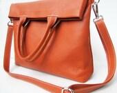 Hermes Tangerine / Orange Oversize Foldover /Shoulder-/ Cross Body-/ Handbag /Tote/ Premium Selection Italian Napa Leather