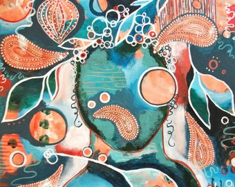 LONGING FOR SILENCE - original acrylic art painting orange teal paisley intuitive paisley painting orange turquoise, teal orange wall art