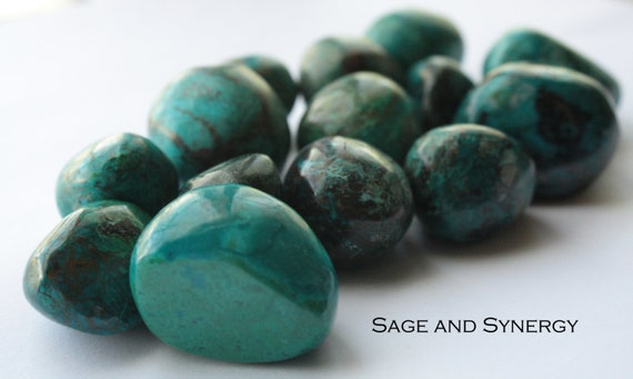 Tumbled Chrysocolla, Green, Polished Stone, Gem Silica Rock, Energy Rocks, Crystal Healing, Crystals For Healing, Healing Rock