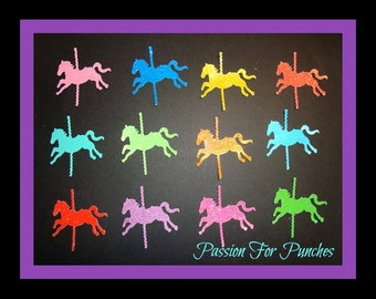 36 Glitter Carousel Horse Die Cuts Punches For Scrapbook Cards Party Confetti Crafts Embellishments Carousel Confetti