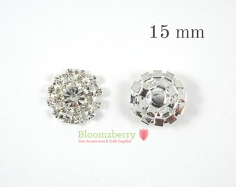 15 mm Crystal Rhinestone Flat Back -Clear Color - Silver Plating - Clear Rhinestones Flat Back - Round RhinestonesHair Accessories Supplies