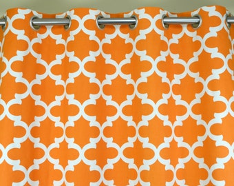 Cinnamon Orange Off White Fynn Lattice Trellis Curtains - Grommet - 84 96 108 or 120 Long by 25 or 50 Wide - Optional Blackout Cotton Lining