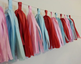 Tissue Paper Tassel Garland - High Chair//Photo booth Backdrop//Birthday's Decor//Baby Shower//Weddings//Decorations