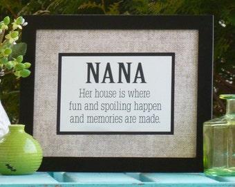 Mothers Day, gift for, Mimi, Nana, Grandma, burlap, her house is fun