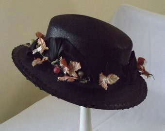 Antique Hat Downton Abbey Era Original Edwardian Black Straw