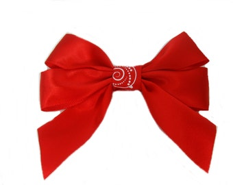 Red Satin Bow Hair Clip, Red Bow, Girls Hair Bow, Shiny Red Bow, Red Hairbow