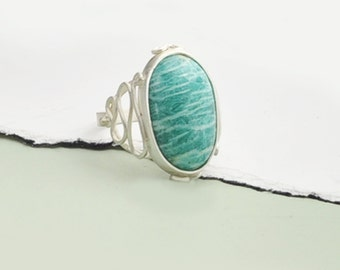 Silver Amazonite Silver Ring, Amazonite and Sterling Silver Ring, Blue Ring, Handmade Amazonite Ring, Statement Amazonite Ring, Fancy Ring