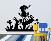 Alice in Wonderland Wall Decal - Alice and the Rabbit decal perfect for any playroom or bedroom