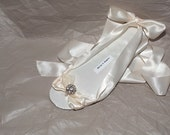 Summer Ella Wedding Sandals, Bridal ballet Shoes, flats in White, Ivory or Champagne with rhinestone