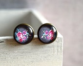 Flower earrings studs, Grey pink green purple blue studs Glass dome studs, picture cabochon earrings brass studs ear stud glass earrings