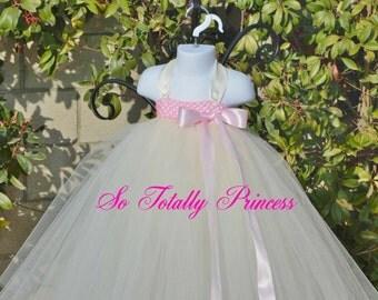 Flower girl tutu dress/Baby girl tutu dress/Birthday tutu dress/Girl tutu dress/Pink and ivory tutu dress/Elegant tutu dress/Photo Prop