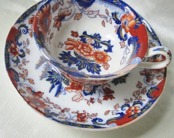 1823 TEA CUP andSaucer,Hand Painted Imari Red and Blue Motif,Gold Accents. Wedding Gift ,Housewarming Gift, Christmas Gift, Boxing Day Gift