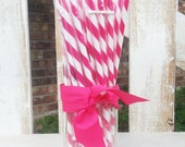 "Pink Candy Stripe BPA Free Reusable Acrylic 9"" Straw with Grommet"