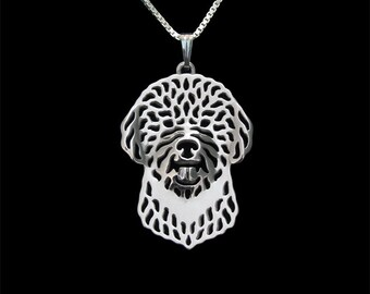 Portuguese Water Dog - sterling silver pendant and necklace.