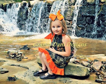 Mossy Oak one layer ruffle orange baby girl 0 3 6 9 12 18 months 2t 3t 4t 5t pillowcase dress camo
