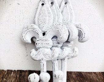 BOLD fleur de lis wall hooks //  snowy white // towel coat robe hook // nautical tropical hand painted cast iron