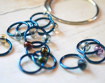 Aurora / Knitting Stitch Markers - Dangle Free Snag Free Knitting Stitch Markers - Small Medium Large Sizes Available