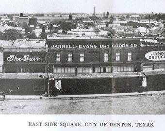 DENTON, TEXAS  Town Square - All 4 Views Circa 1910 Print Yourself Digital Download